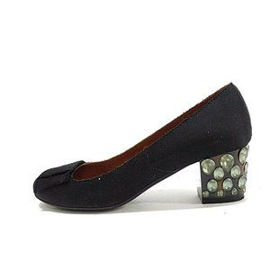 Lanvin Black Satin Pumps with Jeweled Heel and Bow